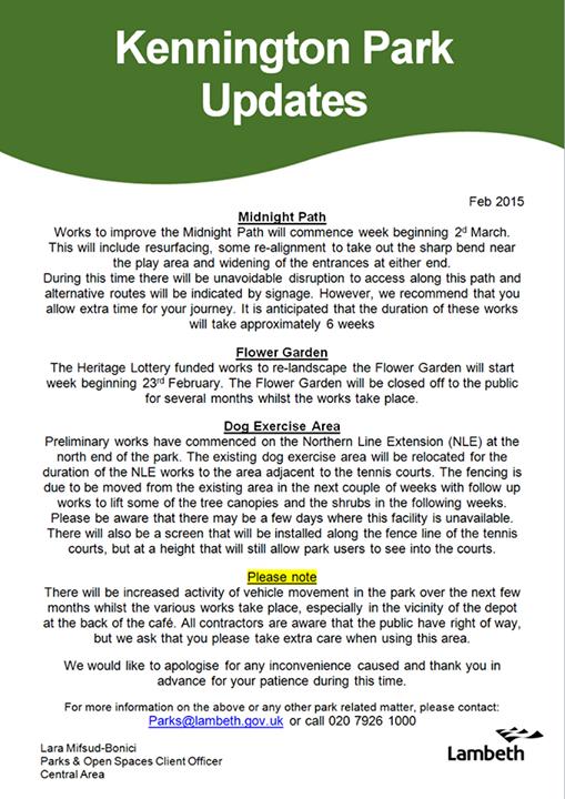 Kennington Park updates Feb 15