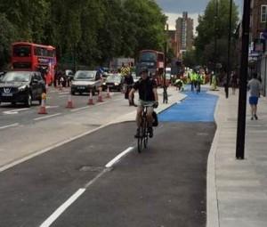 First cyclist through