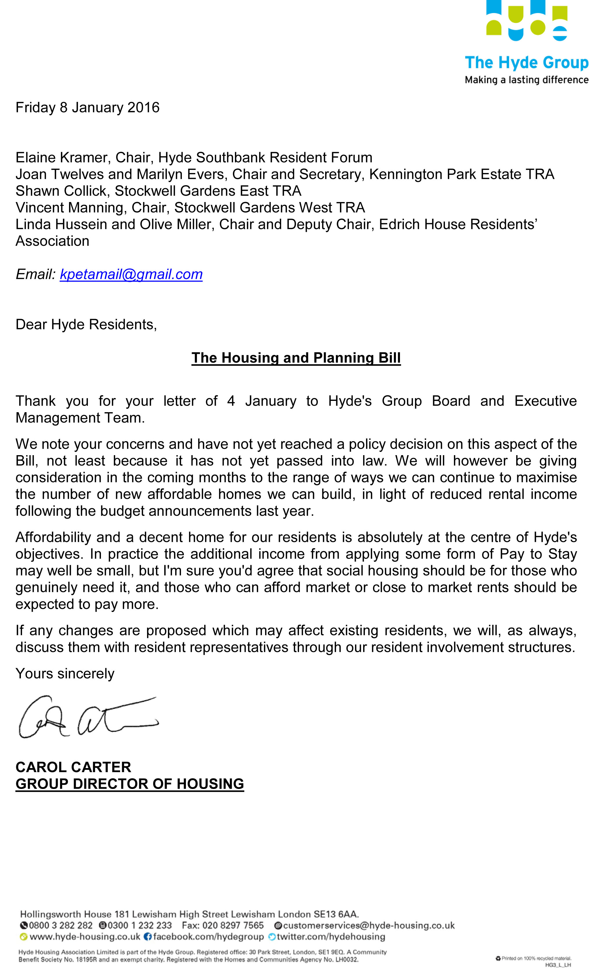 Housing and Planning Bill – letter to Hyde Group Board from HSH TRAs